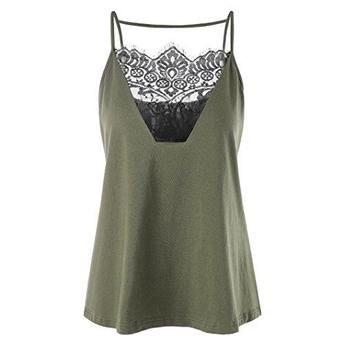 MRULIC Damen Weste Tops Casual Wimper Lace Insert Nähen Shirt Backless Leibchen Tank Top(Grün,EU-38/CN-M) (Nähen Mit Der Wimper)