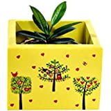 Handcrafted Wooden Decorative Multi Utility Storage Planter Box With Trees- The Weavers Nest