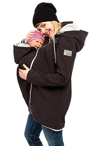 (Viva la Mama - Baby Trage Jacke Umstands Jacke Softshell Damen Jacke mit Trageeinsatz Erweiterung Jacke für Vorn Tragen Winter Schwangerschafts Jacke warm - MELLORY schwarz Sterne - S)