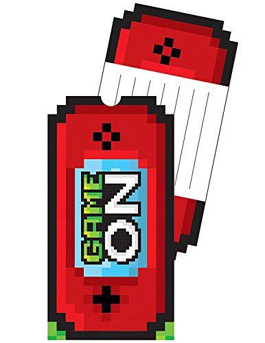 Neu: 8 Einladungskarten * Game ON * für Kindergeburtstag und Motto-Party | mit passenden Umschlägen | LAN Gaming Zocker Zocken Spielen Konsole Pixel Mottoparty Kinder Geburtstag Einladungen (Minecraft Geburtstag)