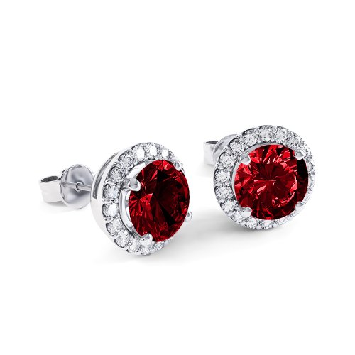 Stardust 2.7ct Ruby and Diamond Halo Silver Stud Earrings (WHITE GOLD)