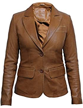 Brandslock Mujeres Tan Slim Fit de cuero Biker Blazer chaqueta de diseñador Look Coat