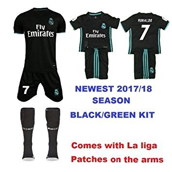 28d19db22 REAL MADRID 2017 18 KIDS CHEAP  REPLICA   KIT WITH FAMOUS PLAYER NAME AND  NUMBER (AWAY RONALDO