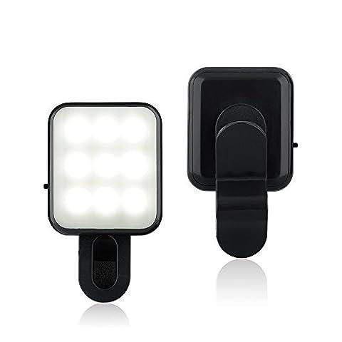 BlueBeach® Mini Clip sur Selfie LED Flash de Lumière Photo Vidéo Lampe pour Smartphones (Noir)