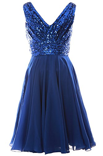 MACloth Women V Neck Sequin Chiffon Short Bridesmaid Dress Formal Evening Gown Sky Blue