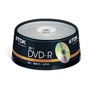 TDK T19416 16x DVD-R 25 Piece Cakebox