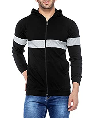 V3Squared Men's Cotton Full Sleeve Zipper Hooded T-Shirt (Black, Small)
