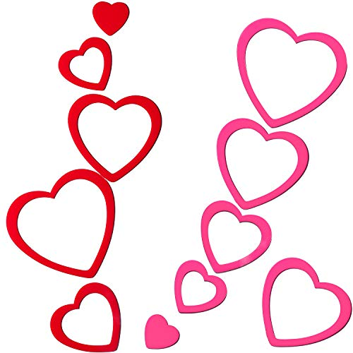 Leinuosen 20 Piezas de Pegatina de Pared en Corazón Desmontable 3D Adornos de Ventana de Corazón de Acrílico Autoadhesivos para Decoración de Día de San Valentín Boda (Rojo y Rosa)