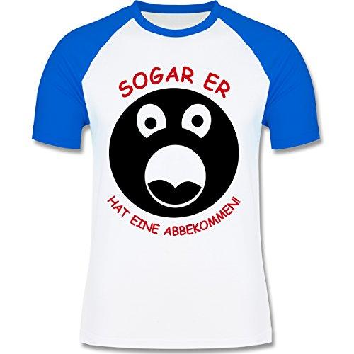 JGA Junggesellenabschied - Sogar er hat eine abbgekommen - zweifarbiges Baseballshirt für Männer Weiß/Royalblau