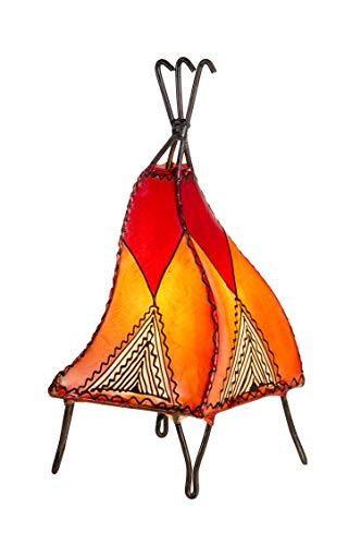 Orientalische Tischlampe Emel 37cm Lederlampe Hennalampe Lampe | Marokkanische kleine Tischlampen aus Metall, Lampenschirm aus Leder | Orientalische Dekoration aus Marokko, Farbe Orange, Natur, Rot -