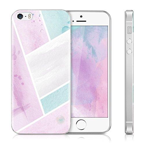 kwmobile Housse miroir pour Apple iPhone SE / 5 / 5S Étui TPU en silicone cover portable, housse de protection en or rose miroitant Surfaces de l'aquarelle IMD rose clair menthe blanc