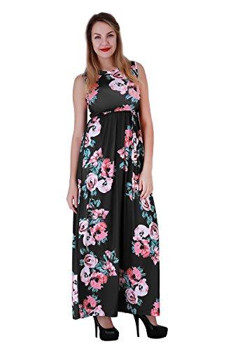 YMING Femme Robe de Plage Bohême Loose Tunique Longue Fleur imprimé Robe Maxi Noir,Sans manche,Maxi