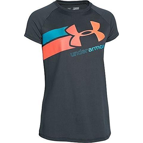 Under Armour Fast Lane T-shirt fitness da ragazza a maniche corte, Nero - Stealth Gray, L