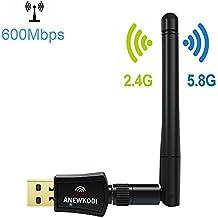 ANEWKODI USB WiFi Adaptador Receptor WiFi  600Mbps Banda dual Antena WiFi(5G/433Mbps+2.4G/150Mbps) , 802.11 n/g/b/a/ac Tarjeta WiFi para Windows XP/Vista/7/8/8.1/10 MAC OS