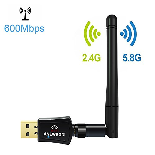 ANEWKODI Adaptador Wifi USB Adaptador Inalámbrico USB 600Mbps Banda dual (5G/433Mbps+2.4G/150Mbps), Mini Receptor WIFI Dongle Wifi, 802.11 n/g/b/a/ac Tarjeta LAN Antena de Red, para Windows XP/Vista/7/8/8.1/10 (32/64bits) MAC OS