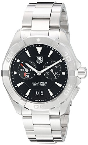 TAG Heuer Men's Aquaracer 40.5mm Steel Bracelet & Case Quartz Black Dial Analog Watch WAY111Z.BA0928