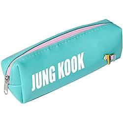 Christ For Givek Kpop BTS Estuche de lápices Bangtan Boys PU útiles escolares BTS Fans Kids Gift(GR4)
