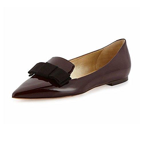 ELASHE - Femmes - Ballerines - Bout Pointu Chaussures - nœud à deux boucles - Classiques - chaussures plates Wine