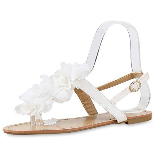 Modische Damen Sandalen Blumen Zehentrenner Sommer Schuhe Party Abiball Hochzeit Weiss Weiss