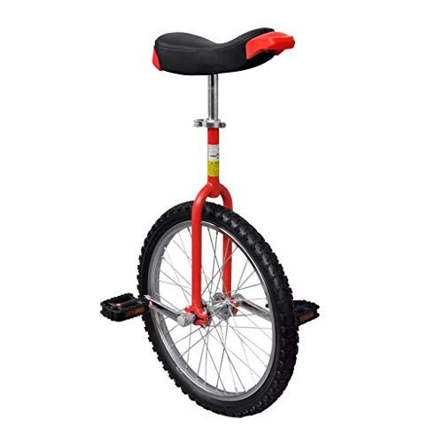 vidaXL Monociclo Rojo Ajustable Bicicleta de Una Rueda Monociclos Acero 20 Pulgadas