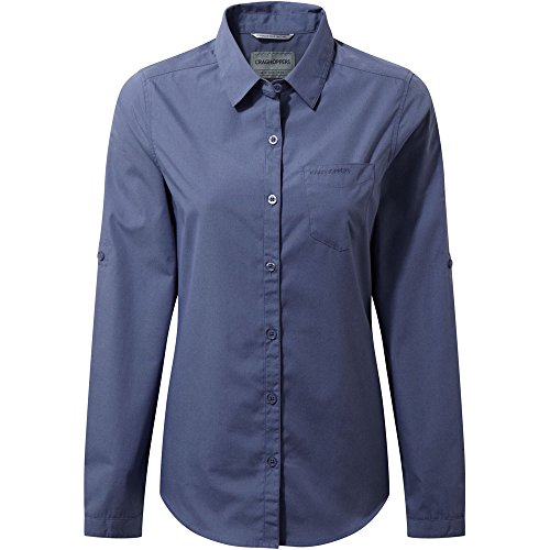 Craghoppers Damen Kiwi Langarm Shirt, China Blue, 38 (Vor Versteckt Bluse)