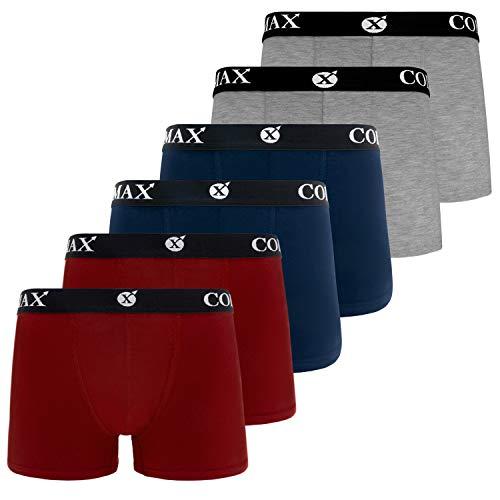 COLOMAX Herren Boxershorts Unterhosen Unterwäsche Baumwolle S-M-L-XL-XXL 6er Set (L, 2X Blau / 2X Rot / 2X Grau) - Graue Wolle Hosen