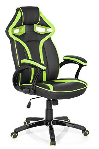 hjh OFFICE 722210 GUARDIAN Chefsessel Racingchair, Lederimitat, schwarz / grün