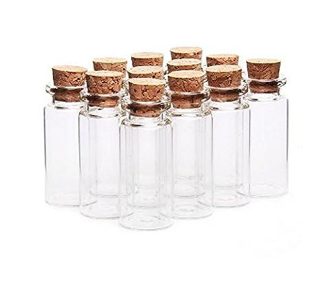 Lot de10 bouteilles, bocaux, fioles en verre avec bouchon en liège pour message Mariage Bijoux Dragées 10ml Transparent