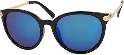 styleBREAKER Sonnenbrille mit Katzenaugen Cat Eye Gläsern und Metall Bügel, runde Glasform, Damen 09020073, Farbe:Gestell Schwarz-Gold/Glas Blau verspiegelt