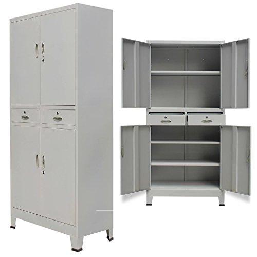 Yorten armadio per ufficio, armadietto spogliatoio, armadio per ufficio, armadio per ufficio con 4 ante, 2 cassetti e 3 ripiani regolabili acciaio 90x40x180 cm grigio