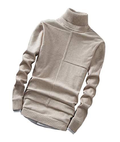 CuteRose Men Baggy Fleece Ribbed Mock Neck Blouse Tops Knitwear Sweaters Beige 2XL - Ribbed Knit Striped Sweater