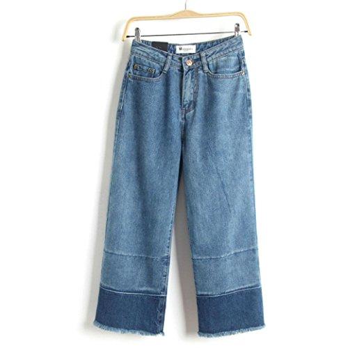 Die neue Frühjahr im europäischen Stil Retro-Bannfarbe gerade hohe Taille breite Beinhosen Grat neun Punkte Jeans weiblich Medium Blue