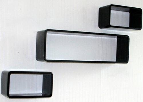 Étagères cube murale de 3 piéces Noir -PEGANE-