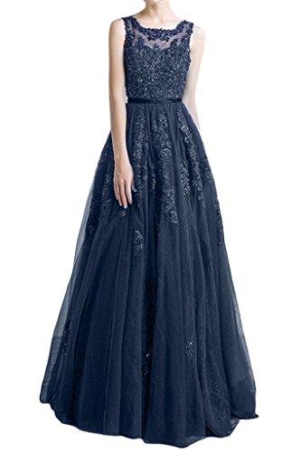 ivyd ressing Femme élégant motif dentelle A ligne tuell robe longue Prom Party robe robe du soir Bleu - Bleu foncé