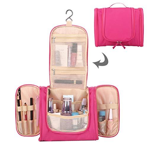 Trip Packing Case (Kulturbeutel zum Aufhängen für Damen & Herren | Wasserresistente Waschtasche mit vielen Fächern | Kosmetiktasche mit Henkel | Beauty Case Große Reise-Kulturtasche (Tiefrot))