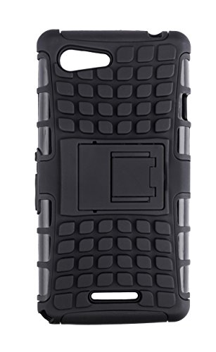 Noise Rugged Dual Layer Kickstand Hybrid Warrior Case Back Cover for Sony Xperia E3 -Black