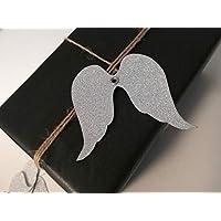 "10er-Set Geschenkanhänger""Engel"" aus silbernem Glitzerpapier Upcycling/Geschenkverpackung/Etikett/Weihnachtsgeschenk"