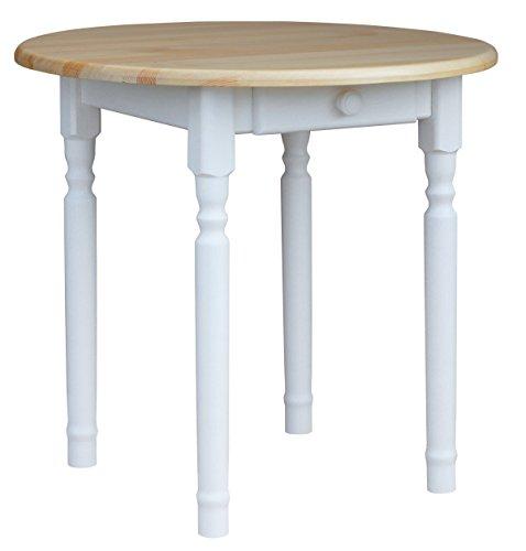 koma Runder Kiefer Tisch Esstisch Holz Küchentisch weiß Honig Landhausstil Schublade (Kiefer Lackiert)