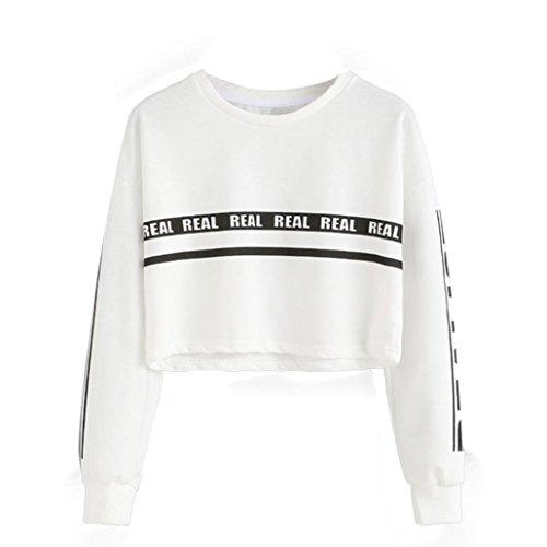 use Kapuzenpullover Streifen Sweatshirt Princess Brief Drucken Top (L, Weiß) (Benutzerdefinierte Drawstring-tasche)
