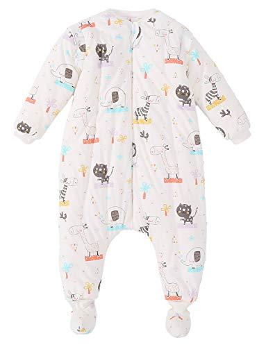 SEEU Mädchen Jungen Winter Schlafsack mit Füßen Abnehmbaren Ärmeln Tiere 4-18 Monate
