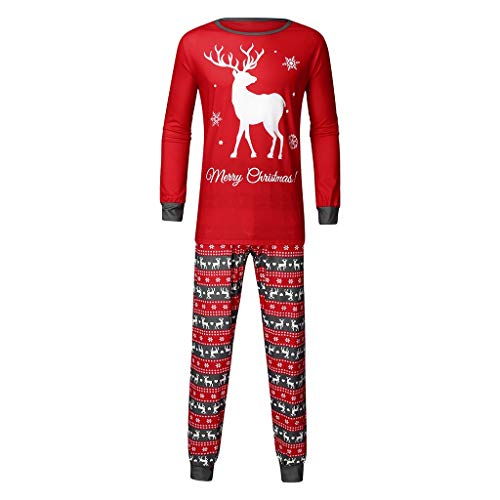 Alwayswin Weihnachten Familie Kleidung Pyjamas Deer Printed Top + Pants Outfits Schlafanzug Zweiteiliger Nachtwäsche Erwachsene Kinder Sleepwear Set -