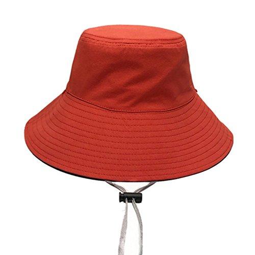 Freizeit Wild Doppelseitige Einfarbig Fischer Hut Weibliche Sommer Literarischen Sonnenschutz Sonnenhut Hut Becken Kappe,Red
