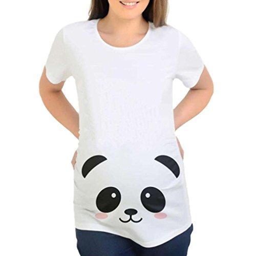 Feixiang® maglietta per l'allattamento elegante stampa del fumetto camicie e casacche da premaman camicia da donna per maternità camicia a doppio strato con maniche avvolgibili (bianco, xl)