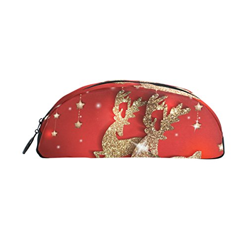 Bleistift Fall Halter Grußkarte mit Gold glänzend Deers und Weihnachten Stift Stationery Tasche Tasche mit Reißverschluss Make-up für Kinder Mädchen Jungen Camo Deer Fall