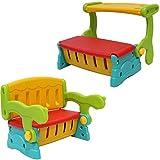 Clamaro 'SwitchBench' 2in1 Kinder Sitztruhe mit Klapptisch oder Rückenlehe und geheimer Truhe, einfach die Sitzbank mit Lehne in eine Sitzbanktruhe mit Tisch umklappen, flexible Indoor...