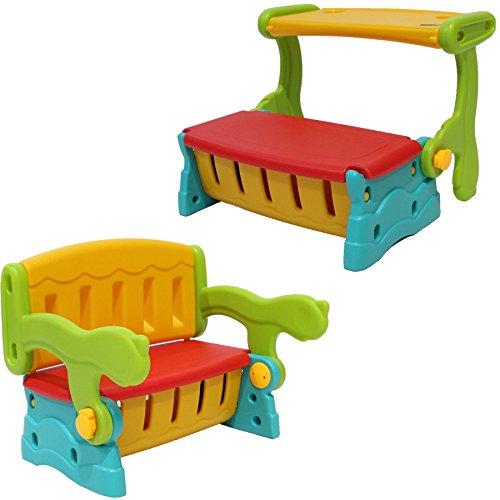 Clamaro 'SwitchBench' 2in1 Kinder Sitztruhe mit Klapptisch oder Rückenlehe und geheimer Truhe, Flexible Indoor und Outoor Kindersitzgruppe aus wetterfestem Kunststoff für Garten oder im Kinderzimmer