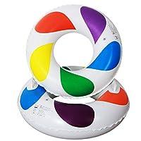 Pour enfants Adultes Anneau de natation gonflable Bouée PVC Poignées Jouet de Plage / Piscine Cercles multicolores grande flottabilité (70)