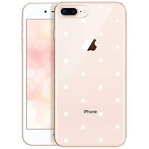 OOH!COLOR Handyhülle kompatibel mit iPhone 7 Plus iPhone 8 Plus Hülle transparent Silikon Bumper dünn Schutzhülle durchsichtig mit Motiv weiße Punkte (EINWEG)