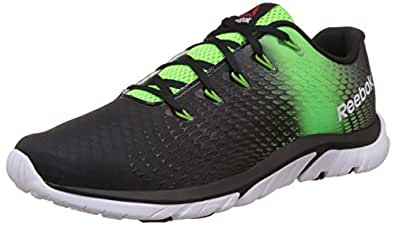 Reebok Men's Zstrike Elite Black, Green, Bright Green and White Running Shoes - 11 UK