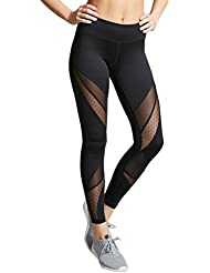 Mujeres,Ice ReBser Hight cintura Yoga Fitness Gym Stretch Deportes pantalones leggings corriendo Trouser (S, Negro)